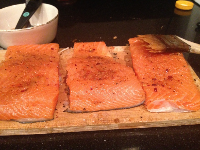 salmon glazed in spicy mixture